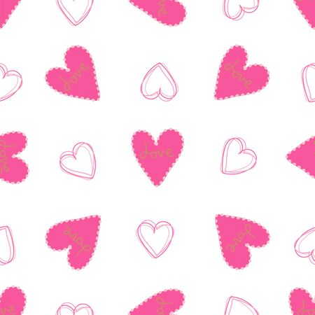 Seamless pattern of pink hearts on a white background.