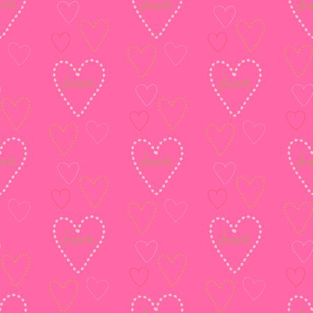 Seamless pattern of hearts on a bright pink background.