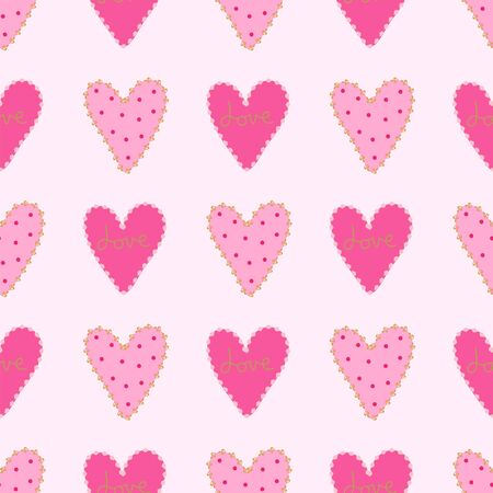 Seamless pattern hearts in rows on a soft pink background. Ilustração