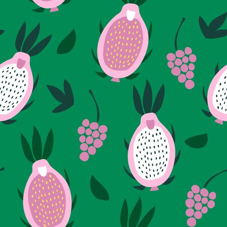 Seamless pattern of pink pitaya and grapes on a green background.