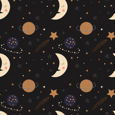 Seamless pattern of cute sleepy moons, planets, and stars on a black background Vetores