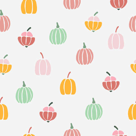 Vector illustration of repeat pattern with fun pumpkins on a white background.