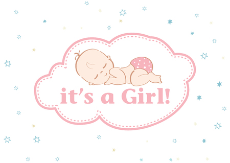 It's a Girl - Beautiful card to celebrate the new family member. In a pastel stars background! Ilustração