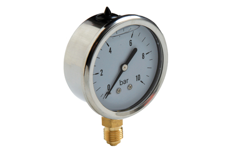 Metal water pipe valve connection, plumbing manometer - isolated on white background.