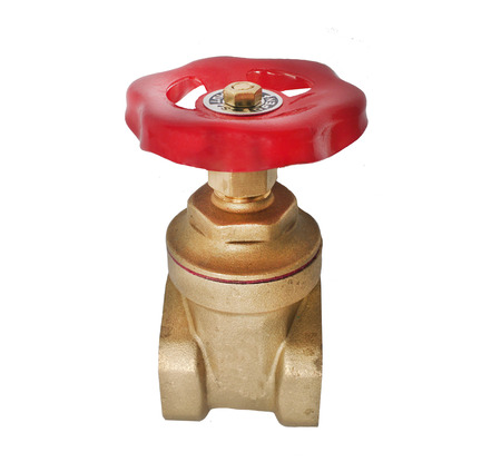 Metal water pipe valve connection, plumbing - isolated on white background.