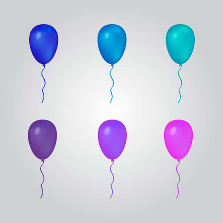 Set of balloons blue and purple. Isolated vector balloons for your projects.