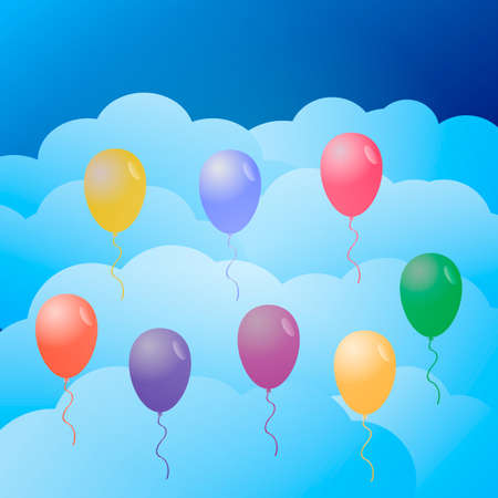 Colorful balloons in the sky. Vector illustration.
