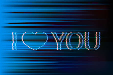 Text I Love You and heart with glitch effect on distorted background. Valentine's day greeting card. Symbol of love vector illustration. Easy to edit design template for your artworks.