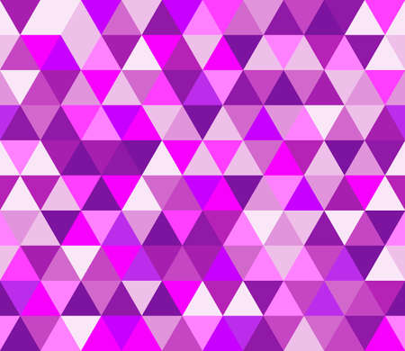 Purple and pink triangular seamless pattern. Geometric vector background. Polygonal mosaic decorative backdrop. Easy to edit design template for your artworks.