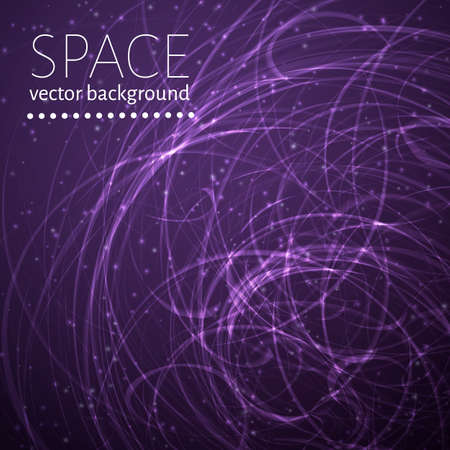 Purple space background WITH Glowing chaotic curves and sparkling particles.