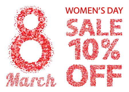 International Women's Day sale banner with letters and numbers of scattered hearts confetti. March 8 vector illustration isolated on white background.  Easy to edit design template for your artworks. Illustration