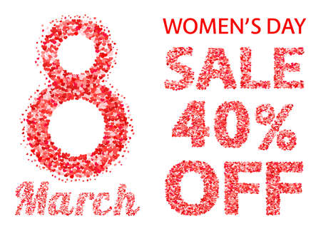 International Women's Day sale banner with letters and numbers of scattered hearts confetti. March 8 vector illustration isolated on white background. Illustration