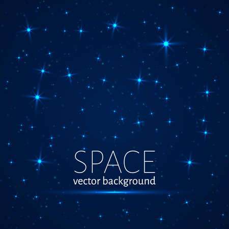 Dark blue space background. Glowing stars and sparkling particles. Universe vector illustration.
