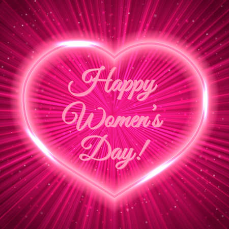 Women's Day greeting card with neon heart on bright magenta background. Retro pop art style vector illustration. Easy to edit design template for your artworks.