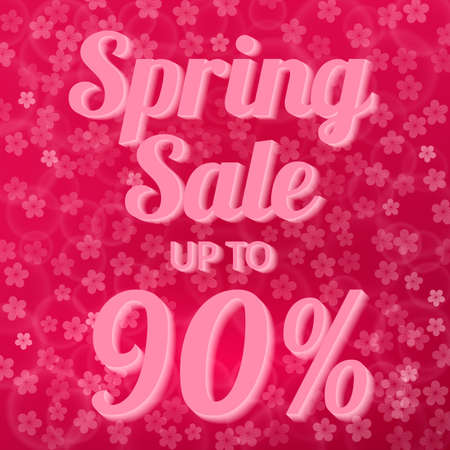 Spring sale banner 90% discount sign on hot pink background with bokeh and cherry blossom flowers confetti. Easy to edit vector design template for your artworks.