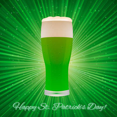 St. Patrick's Day greeting card on a bright green background with beer glass. Easy to edit vector design template for your artworks.