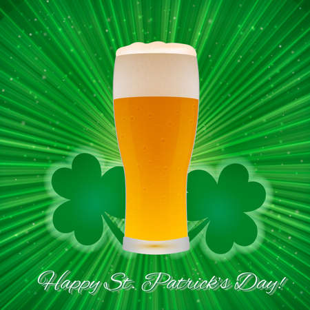 St. Patricks Day greeting card on a bright green background with clover and glass of beer. Easy to edit vector design template for your artworks. Illustration