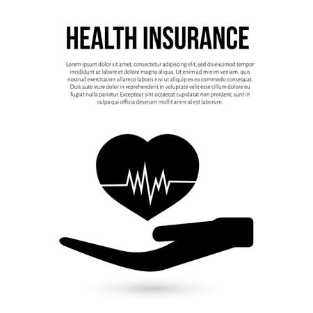 Health insurance vector illustration in flat style. Protection healthcare, medical service, healthy lifestyle concept. Easy to edit design template for your business projects.  イラスト・ベクター素材