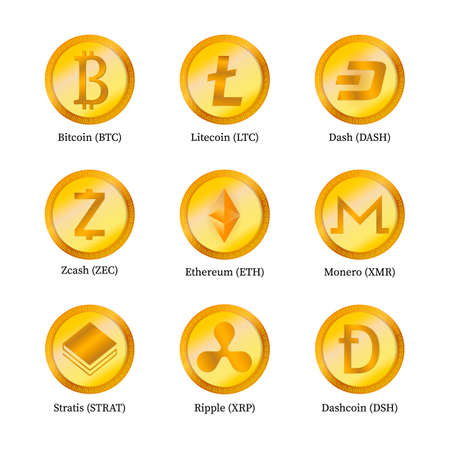 Set of nine crypto currency icons isolated on white. Digital currency. Virtual money. Gold coins. Blockchain based secure. Easy to use vector elements of design for websites, social media, apps, etc.