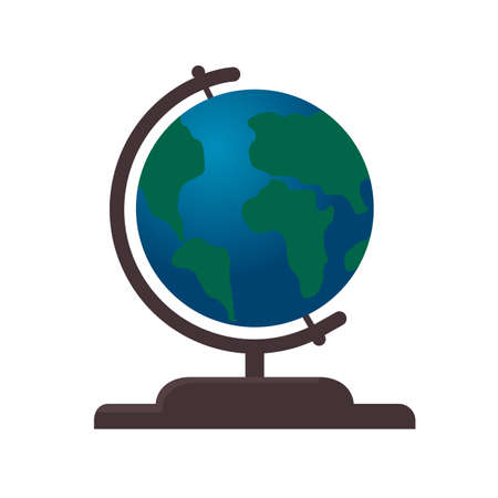 Globe vector illustration flat style.  World travel, adventure, education concept.  Easy to use design template for your artworks. Illustration