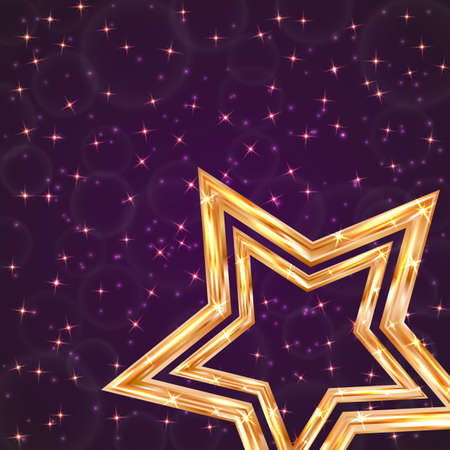 Bright golden star on a dark purple background with sparkling particles. Luxury gold vector illustration. Easy to edit design template for your artworks.
