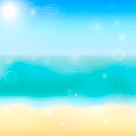 Summer vector background with tropical beach, sea and sky. Blurred bokeh backdrop. Vacation and relax concept.Easy to edit design template for your artworks.