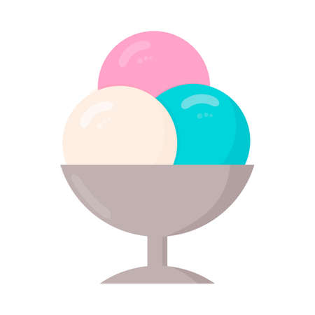 Three balls of ice cream in a cup isolated on white. Cartoon icecream in flat style. Concept of summer desserts and kids celebration. Vector illustration. Italian Gelato. Easy to edit design template.