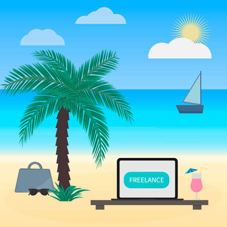 Freelance work vector illustration in flat style. Laptop and glass of cocktail under palm tree on tropical beach. Distant job concept. Working on holidays.