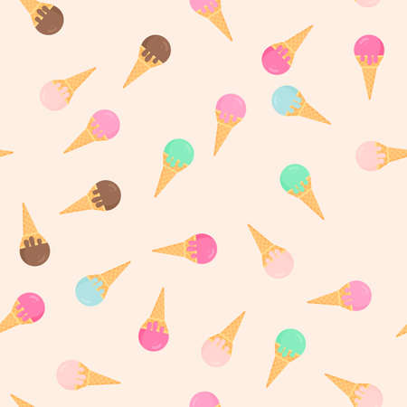 Colorful ice creams in waffle cones seamless pattern. Six different flavors. Summer desserts vector illustration in flat style. Delicious sweets for kids. Easy to edit template for your designs. Vectores