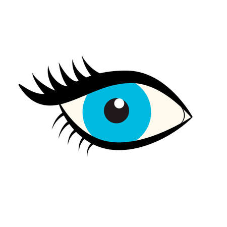 Eyes icon. Blue female eye with eyelashes isolated on white background. Flat style logo. Vector illustration for beauty salons, cosmetic shops, makeup artists etc. Easy to edit template for designs.