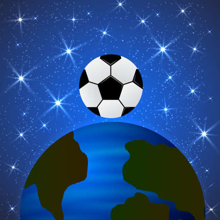 Planet Earth and a soccer ball in space. The concept of the World Cup. Football competitions vector illustration. The universe of sport. Easy to edit template for your design projects. Ilustração