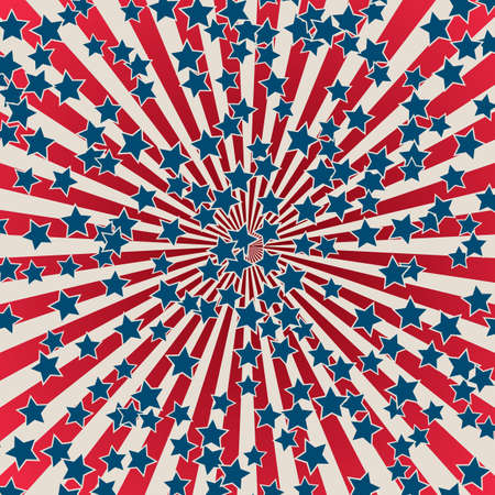 United States Independence Day 4th of July or Memorial Day banner. Retro patriotic vector illustration. Concentric stripes and stars confetti in colors of American flag. Red, blue and white rays.