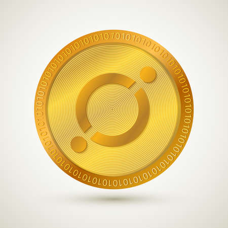 Realistic gold Icon (ICX) isolated. Cryptocurrency.  Digital currency. Virtual money. Golden coin. Blockchain technology. Easy to use vector element of design for websites, social media, apps, etc.