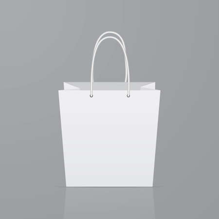 Front view of empty paper shopping bag on gray background. Realistic mockup template. Eco friendly package. Ease to edit vector illustration for advertising shops and markets.
