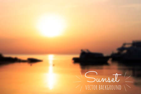 Beautiful summer sunrise or sunset on the sea. Blurred defocused background. Boats on the water. Easy to edit vector template for your design projects.