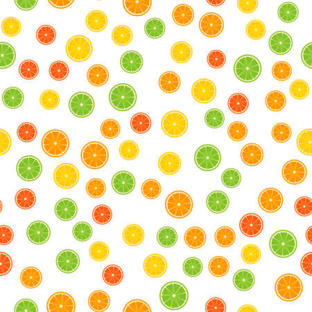 Colorful citrus seamless pattern. Slices of orange, lime, lemon, grapefruit isolated on white. Fresh juicy fruits vector illustration in flat style. Easy to edit template for gift wrap  or fabric.