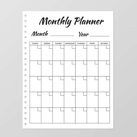 Monthly planner template. Blank white notebook page isolated on grey. Organizer page. Paper sheet. Stationery for education, office and planning a routine. Realistic vector illustration. Illustration