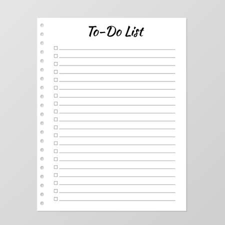 To do list template. Daily planner page. Lined paper sheet. Blank white notebook page isolated on grey. Stationery for education, office and planning a routine. Realistic vector illustration.