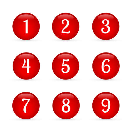 Set of glossy round buttons with numbers from 1 to 9. Red glass  buttons isolated on white. Numbered badges vector icons. 3d keys for websites and mobile applications. Easy to edit template.