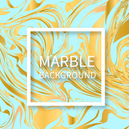 Light blue and gold marble texture background. Liquid effect backdrop. Imitations of hand drawn acrylic painting. Marbling surface vector illustration. Easy to edit template for your design projects.