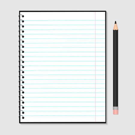 Opened notebook with metallic spiral and pencil isolated on grey. Blank lined paper sheet. Stationery for education and business. Realistic vector illustration. Easy to edit design template.