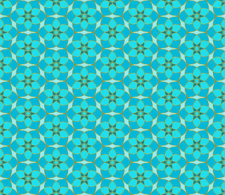 Floral seamless lace pattern. Geometric mosaic background. mint green, blue and gold. Oriental ornament. Easy to use vector design template for invitations, greeting cards, fabric, wallpapers, etc