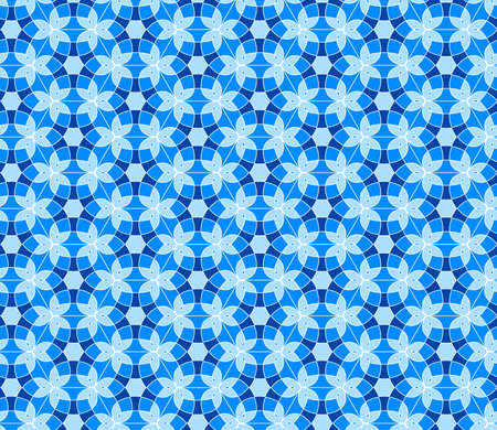 Geometric seamless pattern. Mix blue and white kaleidoscope. Oriental ornament mosaic background.  Azulejos tiles. Easy to use vector template for invitations, greeting cards, fabric, wallpapers.