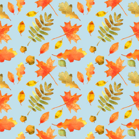 Autumn leaves seamless pattern. Hand drawn watercolor painting. Colorful leaves isolated on blue. Fall theme. Perfect for wedding invitation, greeting card, fabric, banner, flyer, gift wrap, etc.