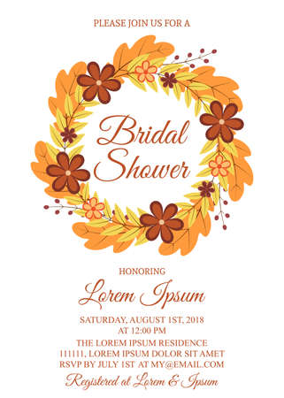 Autumn bridal shower invitation card. Wreath with colorful leaves and flowers. Fall theme bridal party invite. Wedding stationery. Vector illustration. Easy to edit template for your design projects.