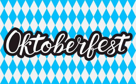 Calligraphy lettering Oktoberfest written with brush on white blue background Octoberfest geometric seamless pattern. Traditional Bavarian beer festival vector illustration. Easy to edit template.