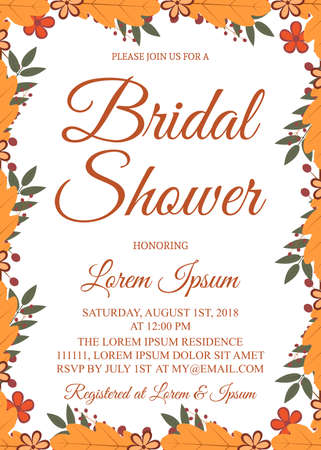 Autumn bridal shower invitation card. Border with colorful leaves and berries. Fall theme bridal party invite. Wedding stationery. Vector illustration. Easy to edit template for your design projects.
