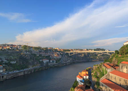 Porto, Portugal – May 20, 2018. Bridge Ponte Infante Dom Henrique over the river Douro.
