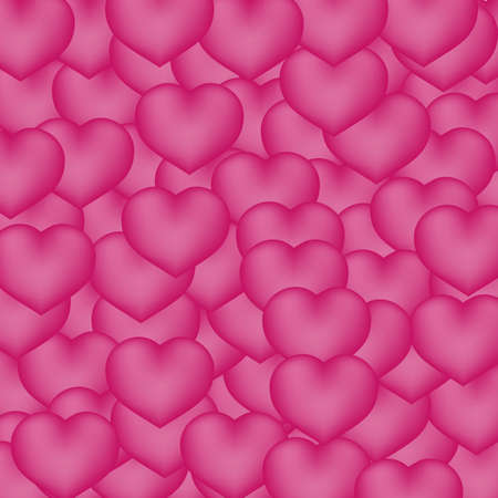 Hot  pink hearts 3d background. Valentine's day shiny greeting card. Romantic vector illustration. Easy to edit design template for your artworks.