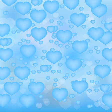 Light blue hearts 3d background. Valentine's day shiny greeting card. Romantic vector illustration. Easy to edit design template for your artworks.